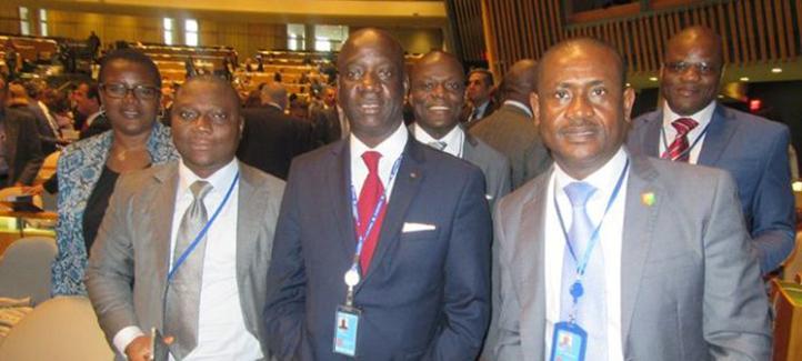 Le candidat de la Côte d'Ivoire à la Commission du Droit international (CDI) des Nations Unies, Dr CISSE Yacouba vient d'être brillamment élu membre ce jeudi 03 novembre 2016 par l'Assemblée Générale. Photo: Dr CISSE Yacouba (au milieu)