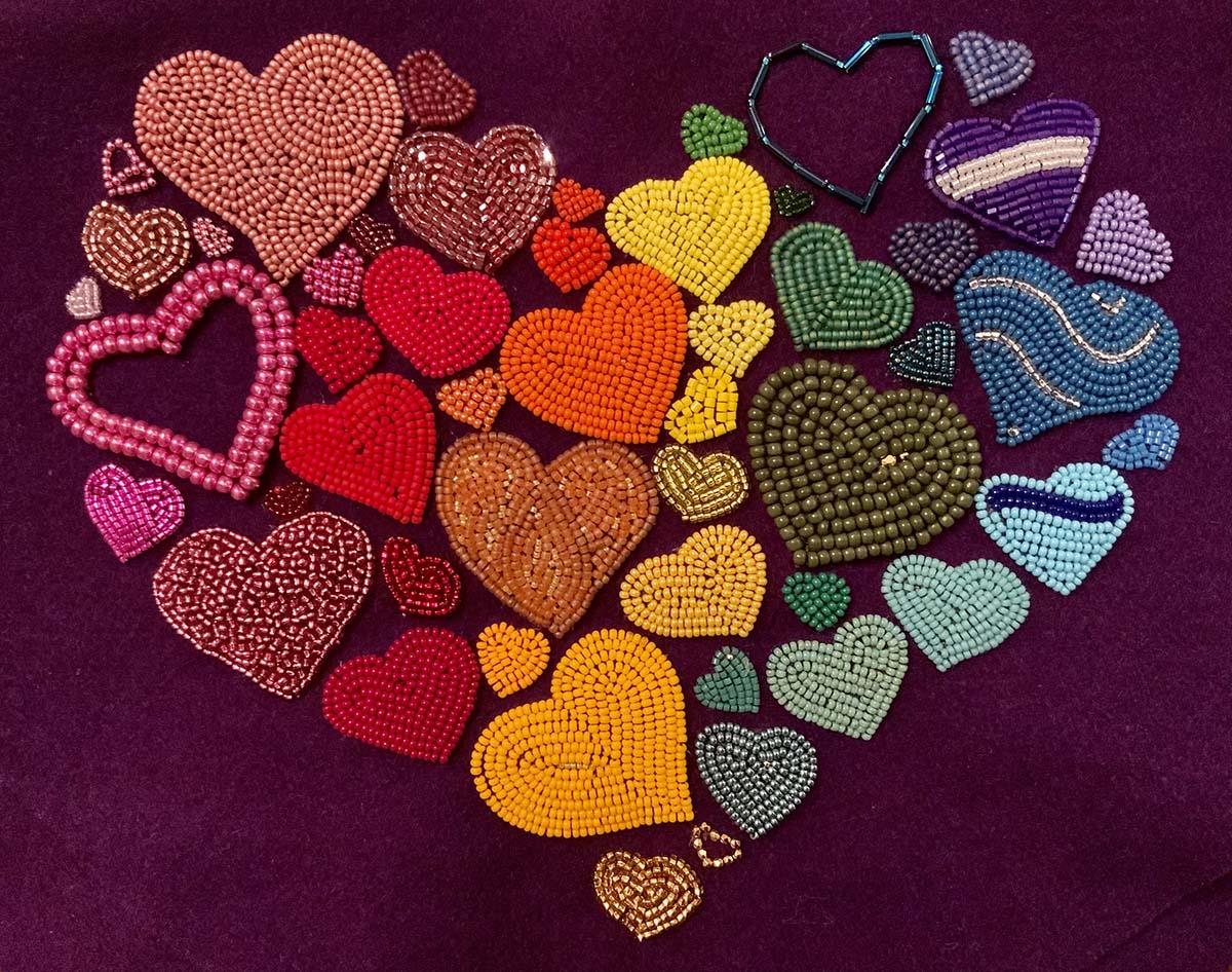 Oeuvre de perlage Heart of Hearts